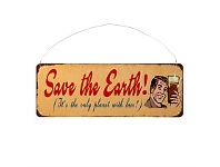 Briscoes NZ Save the Earth Iron Wall Plaque 13x36cm