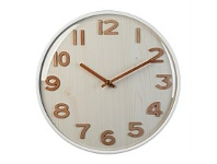 Briscoes NZ Embossed Wall Clock White Pine 32cm
