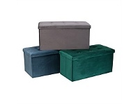 Briscoes NZ Koopman Velvet Twin Storage Ottoman Assorted