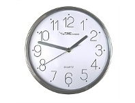 Briscoes NZ The Time Company Mason Clock Silver & White 20cm