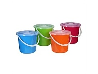 Briscoes NZ Bucket Plastic With Locking Lid Assorted Colours 10L