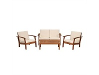 Briscoes NZ Coastal Classic Kingsbury 4 Piece Wooden Outdoor Furniture Setting