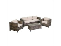 Briscoes NZ Amalfi Woven Hill 4 Piece Wicker Lounge Setting