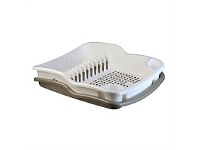 Briscoes NZ Tontarelli Dish Drainer with Tray White & Gold