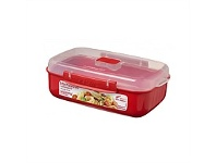 Briscoes NZ Sistema Microwave Container Rectangle Red 1.25L