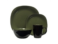 Briscoes NZ Thompson Bali Green 16 Piece Stoneware Dinnerset