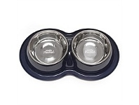 Briscoes NZ Totally Pooched Dog Bowl & Cup Blue Medium Double