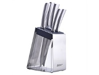 Briscoes NZ Hampton & Mason Stainless Steel/Black Knife Block Set 6Pc
