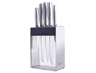 Briscoes NZ Hampton & Mason Stainless Steel/Black Knife Block Set LG 6P