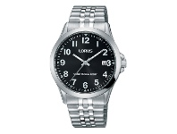 Bevilles Lorus Men's Black Face Silver Stretch Band Watch RS971CX-9