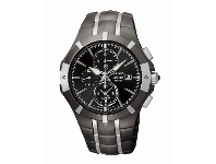 Bevilles Seiko Coutura Chronograph Silver and Black Men's Watch SSC199P-9