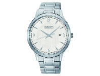 Bevilles SEIKO GENTS DAYWEAR 100M WHITE FACE SILVER CASE BAND