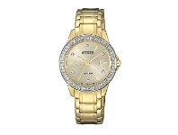 Bevilles Citizen Eco Drive Swarovski Crystal Gold Watch FE1172-55P