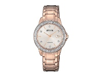 Bevilles Citizen Eco Drive Swarovski Rose Gold Watch FE1173-52A