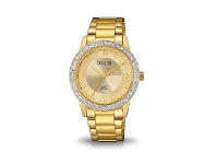 Bevilles Citizen Womens Swarovski Gold Watch EL3092-86P