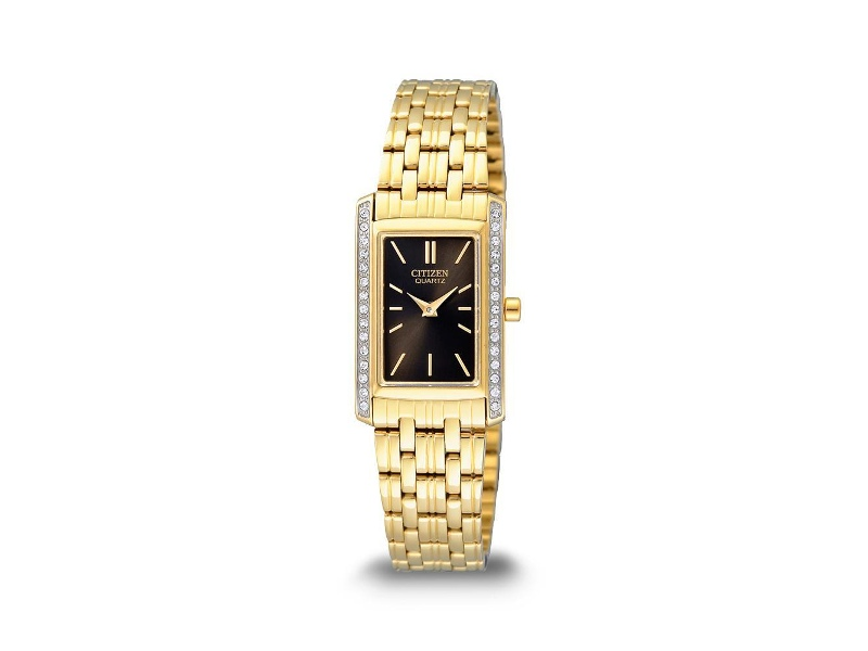Citizen Womens Swarovski Gold Regtangle Watch EK1122-50E