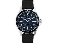 Bevilles Timex Navi XL 41mm Stainless Steel Case Blue Dial Black Silicone Strap