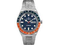 Bevilles Timex Q Timex 38mm Blue And Orange Dial Silver Bracelet