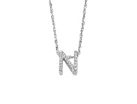 Bevilles Sterling Silver Cubic Zirconia Initial Necklace - Most Initials Available
