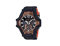 Bevilles Casio G Shock Black and Orange Mens Watch GRB100-1A4