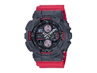 Bevilles CASIO G SHOCK BLACK FACE CASE RED SILICONE BAND