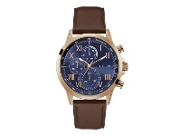 Bevilles guess-mens-porter-chrono-look-blue-rose-gold-tone-brown-leather-watch-gw0011g4