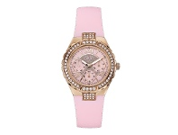 Bevilles Guess Ladies Rose Gold & Pink Band Watch Model- W0300L3