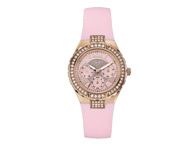 Guess Ladies Rose Gold & Pink Band Watch Model- W0300L3