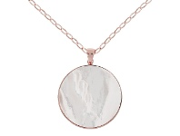 Bevilles Bronzallure Red Fossil Wood Big Disc Necklace