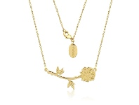 Bevilles Disney Beauty and The Beast Rose Necklace Gold