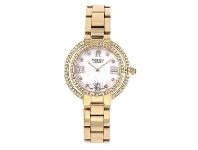 Bevilles Roberto Carati Ambrosia Crystal Mother of Pearl Gold Watch - S