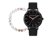 Bevilles Christian Paul Raw Black Watch with Marble Bead Bracelet