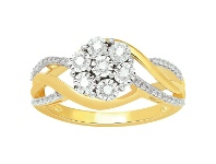 Bevilles Miracle Flower Ring with 1/4ct of Diamonds in 9ct Yellow Gold - L