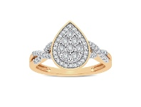 Bevilles Miracle Plate Halo Pear Ring with 1/5ct of Diamonds in 9ct Yellow Gold