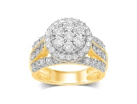 Bevilles Brilliant Illusion Halo Cluster Ring with 1.00ct of Diamonds in 9ct Yellow Gold