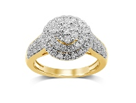 Bevilles Brilliant Set Double Halo Ring with 1.00ct of Diamonds in 9ct Yellow Gold