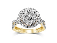 Bevilles Miracle Surround Halo Ring with 1.00ct of Diamonds in 9ct Yellow Gold
