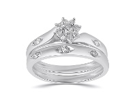 Bevilles Twin Ring Set with 1/4ct of Diamonds in 9ct White Gold