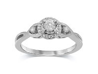Bevilles Brilliant Miracle Halo Ring with 1/4ct of Diamonds in 9ct White Gold