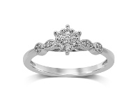 Bevilles Fancy Shoulder Ring with 0.15ct of Diamonds in 9ct White Gold - Q