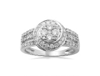 Bevilles 3 Row Shoulder Ring with 3/4ct of Diamonds in 9ct White Gold - S