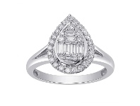 Pear Shape Cluster Ring with 1/2ct of Diamonds in 9ct White Gold