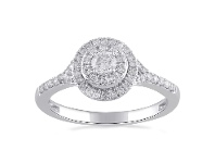 Bevilles Double Halo Ring with 1/2ct of Diamonds in 9ct White Gold - Q