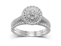Bevilles Two Ring Set with 1/2ct of Diamonds in 9ct White Gold - Q