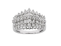 Bevilles Baguette Step Ring with 1.00ct of Diamonds in 10ct White Gold
