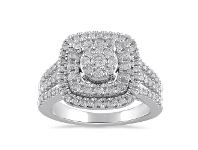 Bevilles Brilliant Double Halo Square Ring with 1.00ct of Diamonds in 9ct White Gold