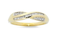Bevilles Crossover Ring with 0.15ct of Diamonds in 9ct Yellow Gold - N