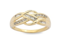Bevilles Swirl Crossover Ring with 0.15ct of Diamonds in 9ct Yellow Gold