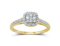 Bevilles 9ct Yellow Gold Square Shape Halo Ring with 0.25ct of Diamonds - N