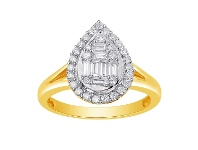 Bevilles 9ct Yellow Gold Pear Shape Cluster Ring with 0.50ct of Diamonds - L